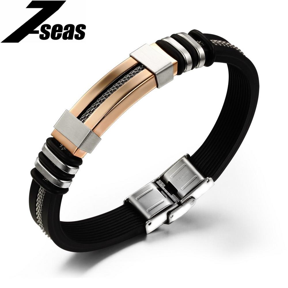 Caoutchouc de Silicone de mode Or Couleur Corde Noir Bracelet & Bracelet Creux En Acier Inoxydable Hommes Bijoux Bracelet pulseira, JM793