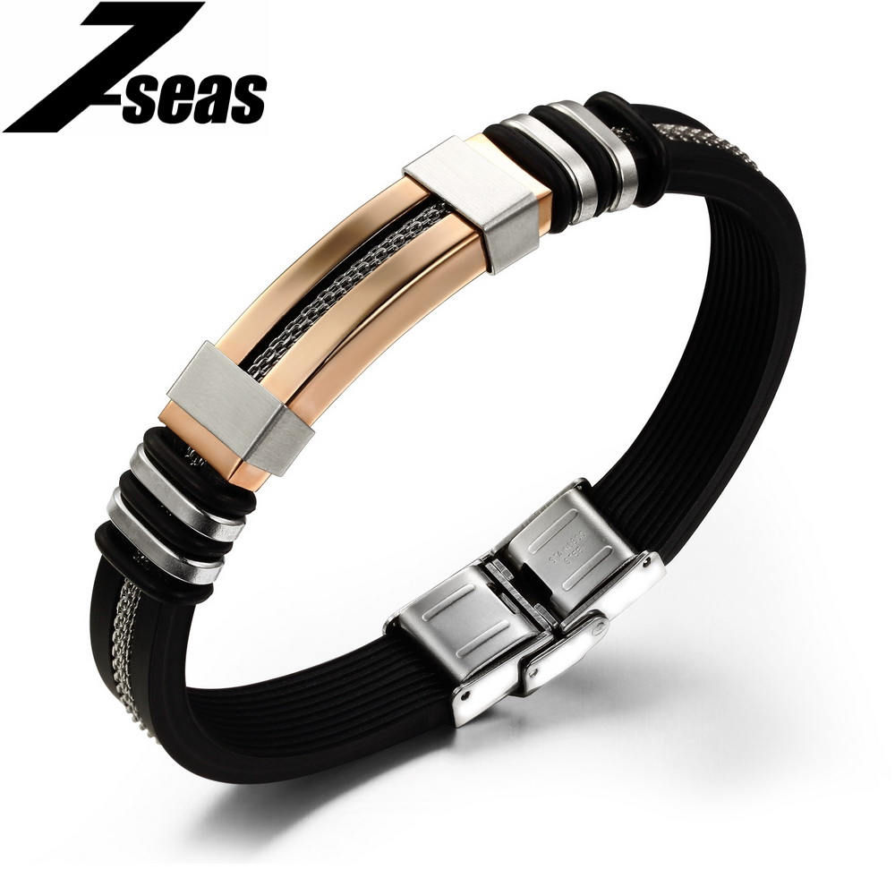 silicone jewelry stainless item bracelets mens color bangle plated hollow fashion in from pulseira men bracelet black charm gold rubber steel rope