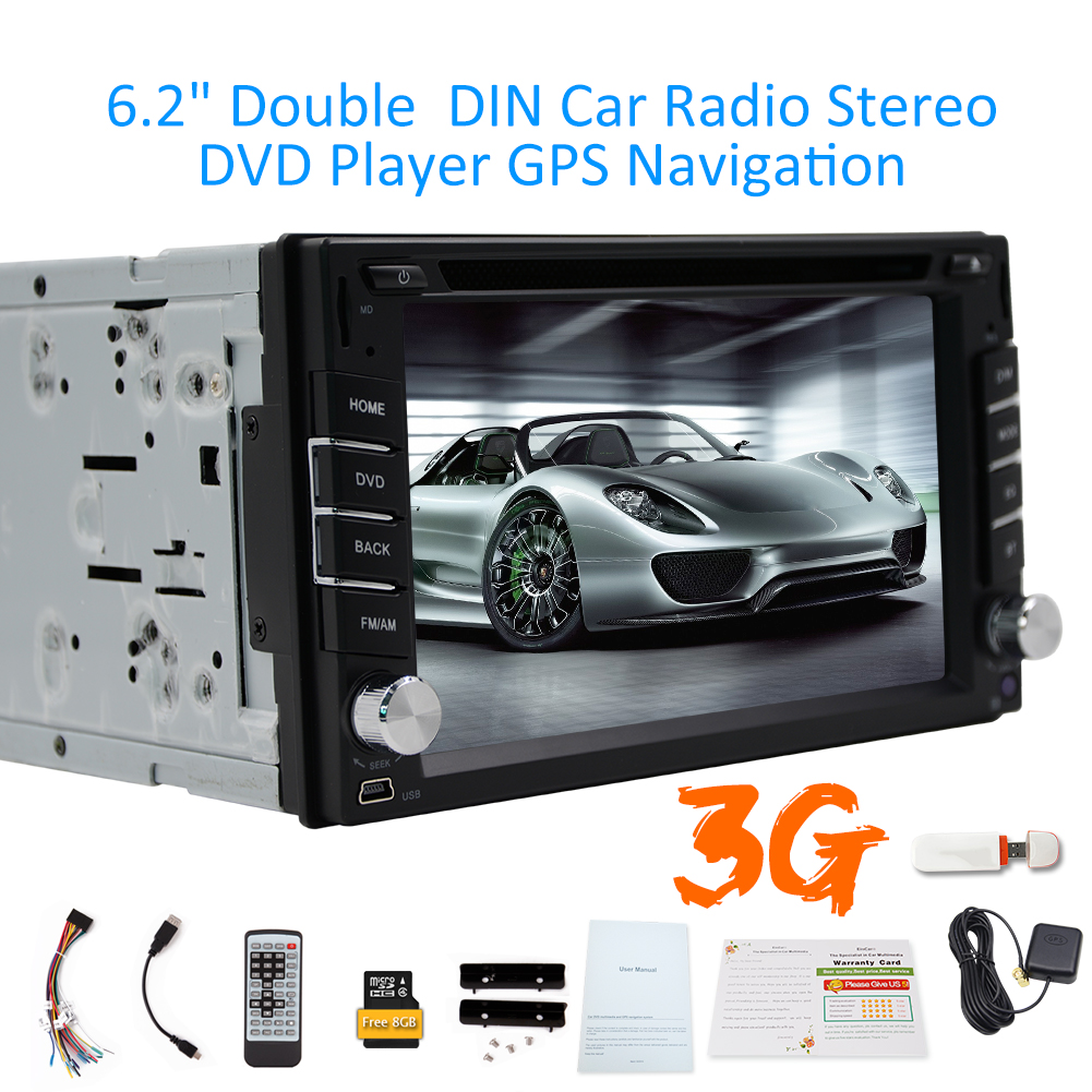 Car Stereo 2 Din In Dash Headunit MP3 Music Auto Radio CD Electronics In Deck Car Video Autoradio DVD Player Multimedia Automotive Parts Touch Screen 6.2 3G Card Built in RDS iPod