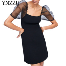 YNZZU 2019 new arrival puff sleeve knit dress Black A-line square collar women mini Sexy semi-sheer elegant vestidos YD261