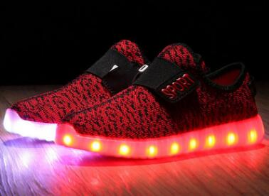 2017 sponge mice brand children boys and girls breathable USB charging LED light shoes casual shoes