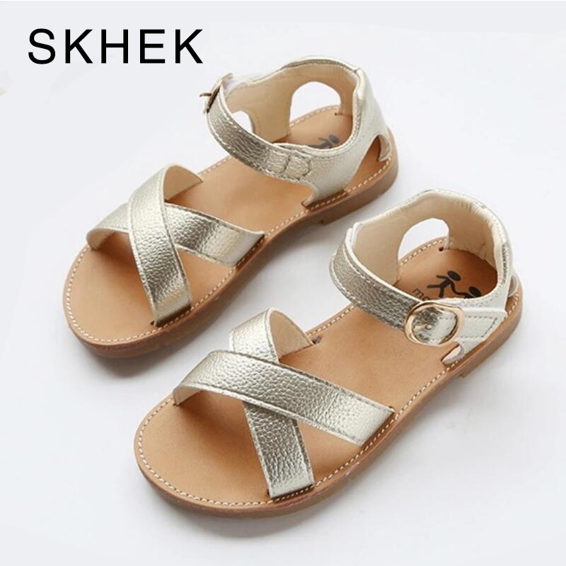 SKHEK PU Leather Girls Shoes Kids Summer Baby Girls Sandals Shoes Skidproof Toddlers Infant Children Kids Shoes Black Gold White