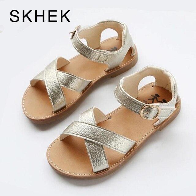 SKHEK עור מפוצל בנות נעלי ילדי קיץ תינוק בנות סנדלי נעלי Skidproof פעוטות תינוקות ילדי ילדים נעלי שחור זהב לבן