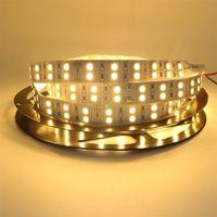10X DC12v 120 светодиодов/м Светодиодная лента 5050 5 м/катушка двойной ряд теплый белый/белый свет ленты света не водонепроницаемый освещение внут