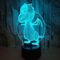 Neue Dinosaurier 3d Nachtlicht Bunte Touch Remote Led Visuelle Kinder Lampe Geschenk Atmosphäre Kleine 3d Leuchten
