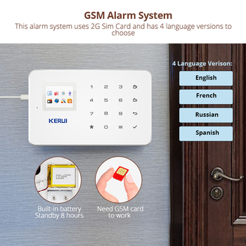 KERUI 1.7 Inch TFT Screen GSM Home Burglar Security Alarm Protection APP Control Built In Siren With Door Sensor Alarm 2