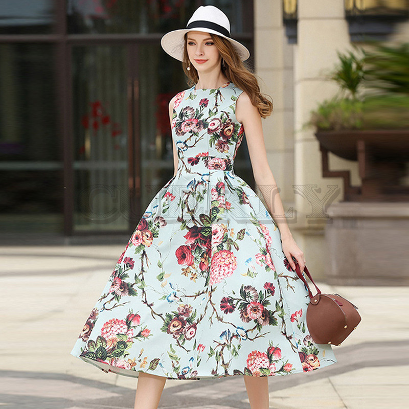 Cuerly  HIGH QUALITY New Fashion 2019 Designer Runway Dress Womens Sleeveless Noble Floral Printed Party