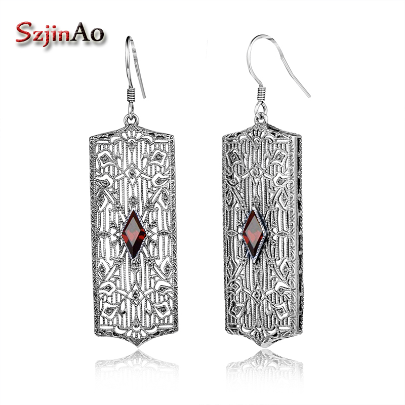 цена на Szjinao European women fashionable personality earrings antique 925 sterling silver earrings garnet pair of earrings