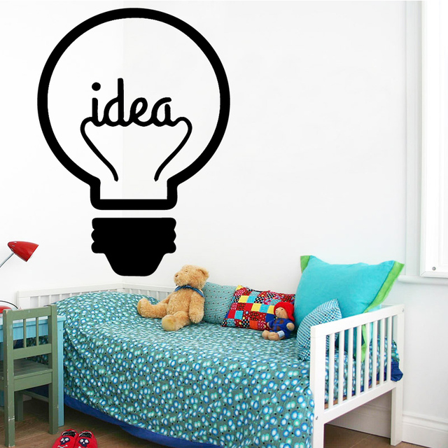 Idea Loading Wall Stickers Light Bulb Lamp Window Car DIY Sticker Decal Vinyl Silhouette Clip Art Vector Plotter Cut Decor