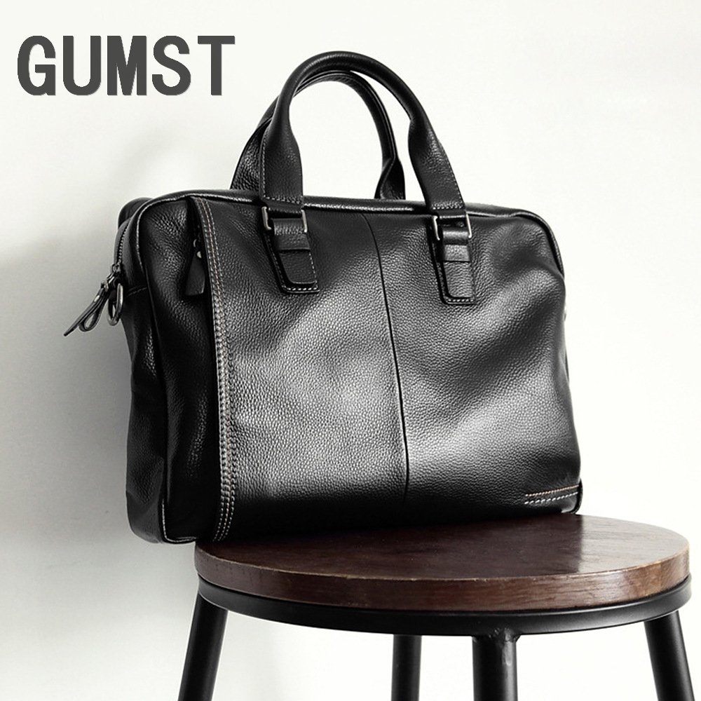 GUMST 2018 New Natural Cowskin 100% Genuine Leather Men's Briefcase Fashion Large Capacity Business Bag Male Shoulder Laptop Bag