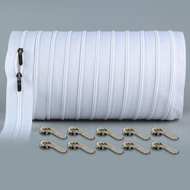 Молния #3 Белый 10 ярдов нейлон катушки Застежки-молнии для шитья оптовая продажа Двойной Ползунки закрытый конец Вышивание Craft Бесплатная доставка