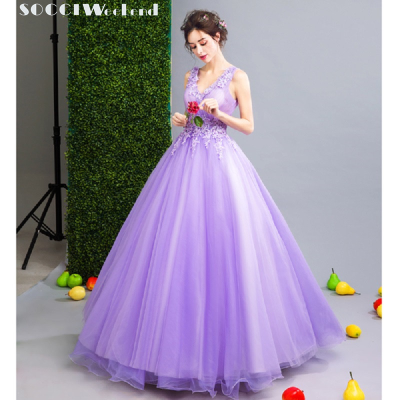 SOCCI Lavender Prom Dresses 2019 Elegant V Neck Beaded
