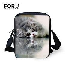 Forudesigns/повседневные женские сумки 3D Кот Cross-Body Сумки для Девочка небольшая сумка Детская сумка Mochilas Infantil(China)