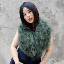 CX-A-52U женский зимний воротник супер Женский s настоящий монгольский овечий мех воротник шарф