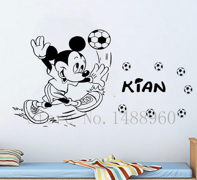 e834 personalized custom name mickey mouse play football wall stickers home decor decal diy poster for