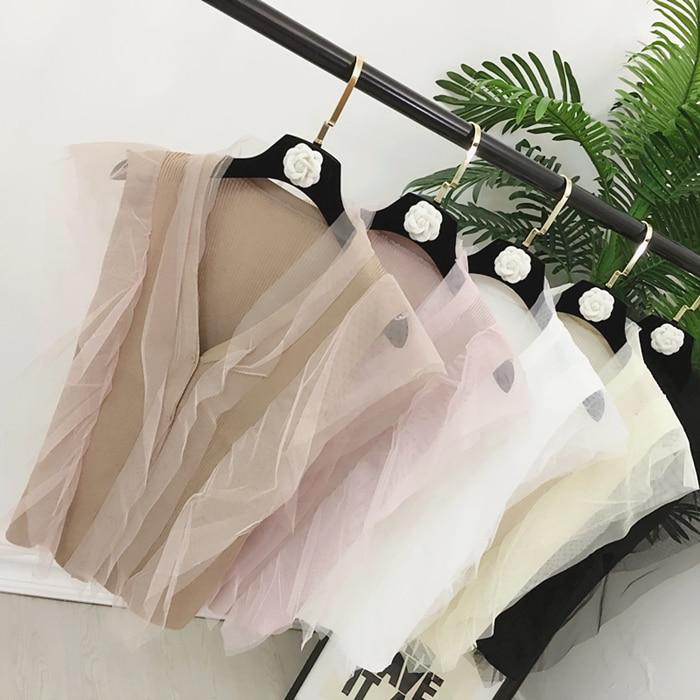 2017 Frauen Gestrickte Weste Shirts V Neck Mesh Patchwork Feste Kurze Stil Frau Weibliche Casual Sommer Tank Tops Verkaufsrabatt 50-70%