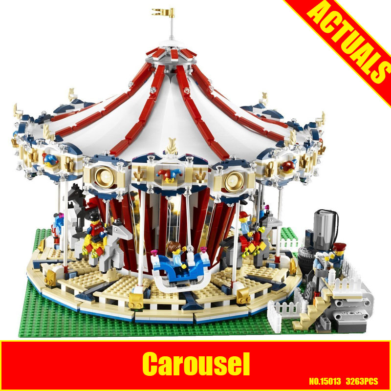 Lepin 15013 City Sreet set Carousel Model Building Kits Blocks Toy Compatible 10196 with Funny Children Educational lovely Gift