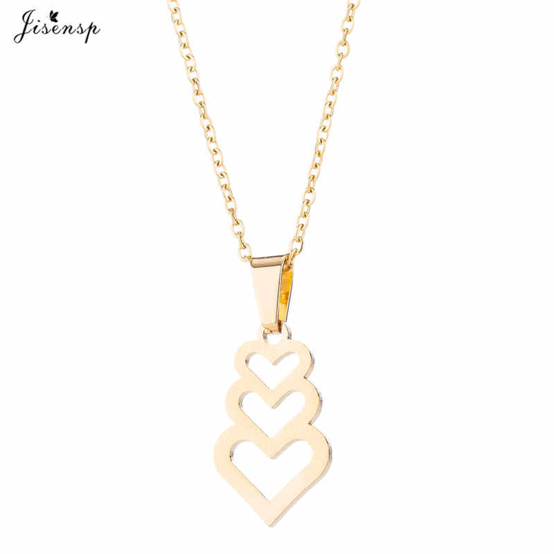 Jisensp Romantic Heart Necklace for Women Pendant Jewelry Set Hollow out Piercing Love Earrings Gold Stainless Steel Earings