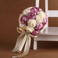Buquês de Noiva romântico Mariage Rosa Flor Mão Buquê de Casamento Buquê de Cristal de Bling Frisado Fita