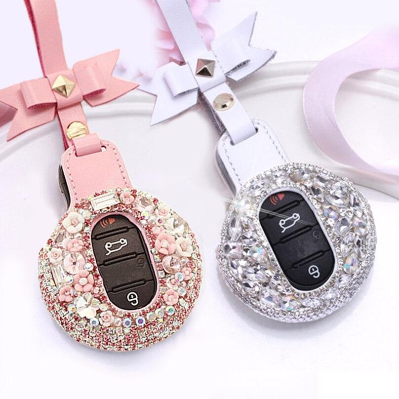 Auto Schlüssel Cover Hülle Case Cover Ring für Mini Cooper Lila
