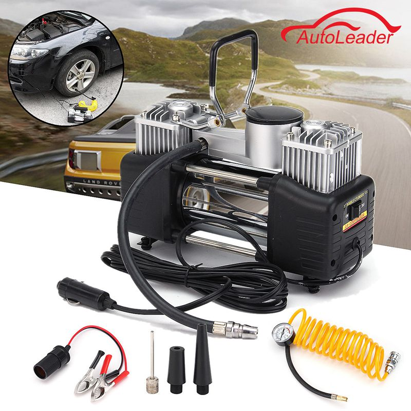New Arrival DC 12V 150PSI 150W 35L/min Double Cylinder Air Pump Compressor Car Tire Tyre Inflator Kit 2 in 1 multifunction tire inflator air compressor w vacuum cleaner yellow dc 12v