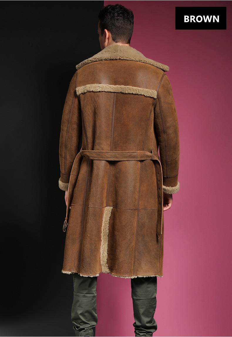 c78225e058b2 Men's Winter Thermal Outerwear Men Super Long Sheepskin Shearling ...