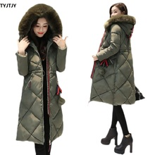 Large fur winter jacket insulated park women sew thin long winter coat down cotton ladies down park down jacket women's 2018 цена