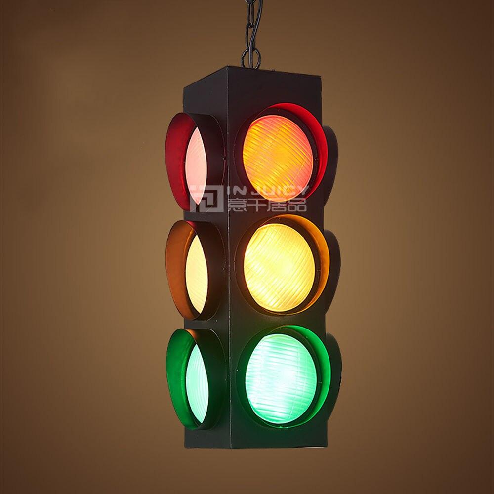 Nordic Retro Industrial Coffee Decor Traffic Light Loft Iron Glass Pendant Lamp Fixtures DropLight