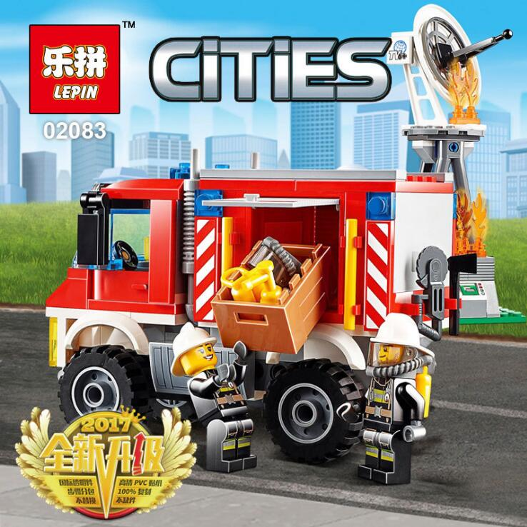 Lepin 02083 City Series Heavy Fire Engine Rescue Truck Model Building Blocks Brick Toys For Children Gift 60111 lepin 02012 city deepwater exploration vessel 60095 building blocks policeman toys children compatible with lego gift kid sets