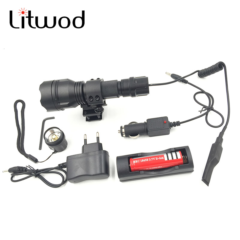 Litwod Z10C8 XM-T6 LED Flashlight 5000LM Tactical Flashlight Aluminum Hunting Flash Light Torch Lamp +18650+Charger+Gun Mount