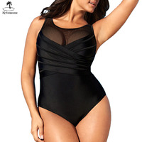 2018 New Plus Size One Piece Swimwear Criss Cross Ruched Mesh High Neck One Piece Beach