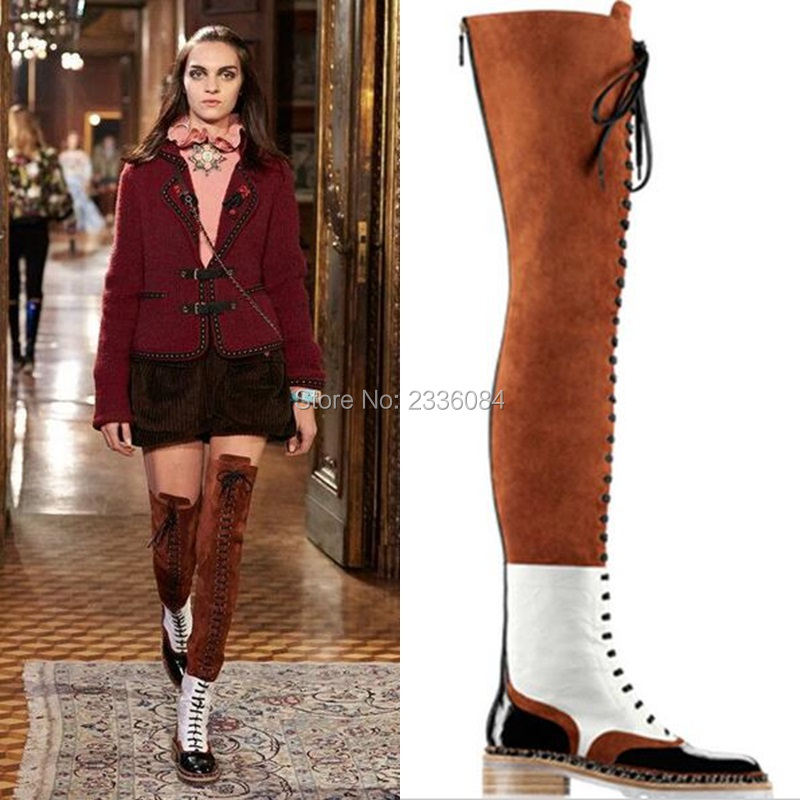 Winter Mixed Colors Suede And Leather Flat Over The Knee Boots Woman Lace-up Motorcycle Boots Thigh High Booties Zipper Woman rakesh kumar tiwari and rajendra prasad ojha conformation and stability of mixed dna triplex