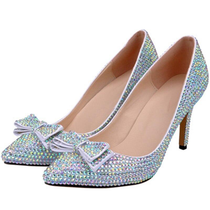 LOSLANDIFEN Women Crystal Bow Heels 8CM High Heel Full Rhinestone Pointed  Toe Wedding Shoes Women Bridal. sku  32859242853 6020dfc24401