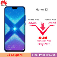Huawei Honor 8X MobilePhone 6.5 inch Screen 3750mAh Battery Android 8.2 Dual Back 20MP Camera Multiple Language Smartphone(China)