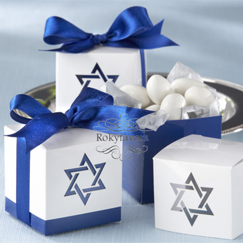 FREE SHIPPING 70PCS Star Of David Favor Boxes Wedding Favor Baby Shower Birthday Party Event Sweet Package With RIBBONS