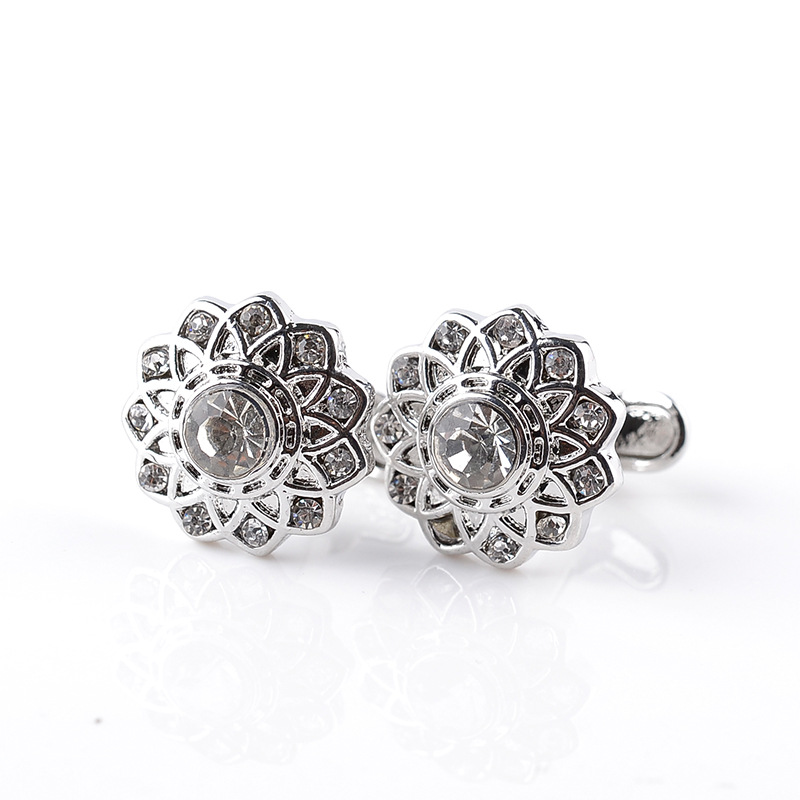 White-collar executives in white shirt cufflinks hot new fashion alloy crystal jewelry, Ms. French cufflinks cuff