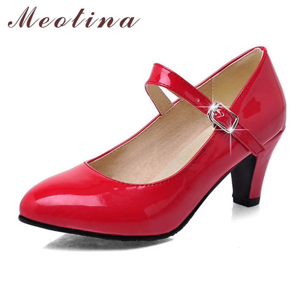 Meotina Fashion Shoes Women Pumps Spring Pointed Toe Mary Jane Chunky Medium Heels Plain Red Gold Ladies Shoes Black Size 34-39 meotina brand design mules shoes 2017 women flats spring summer pointed toe kid suede flat shoes ladies slides black size 34 39