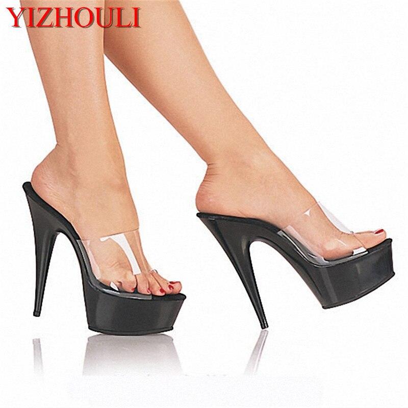 Custom Made Plus Size Full Clear 15cm Sexy High Heel Crystal Sandals 6 Inch Platform High