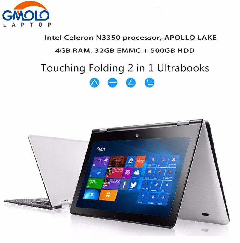 11.6 дюймовый сенсорный экран ультрабук ноутбук 500 ГБ + 32 ГБ EMMC n3350 Apollo Lake Processor 360 градусов вращающийся Оконные рамы 10 ноутбук