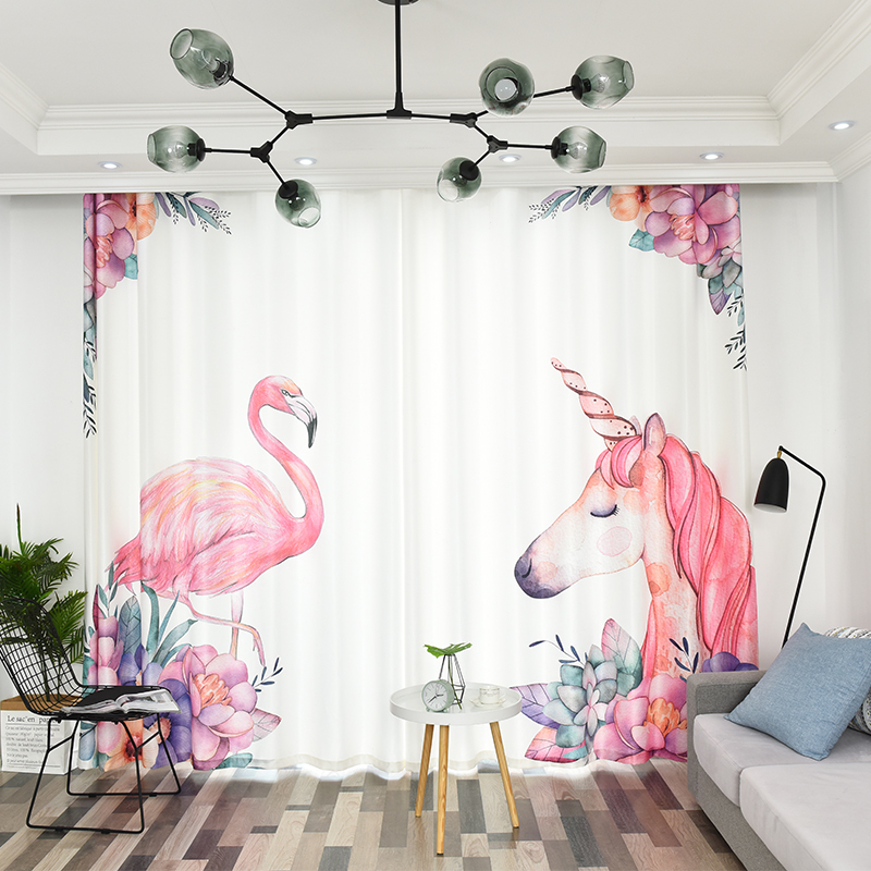 2PCS Nordic Style Curtains Flamingo and Unicorn Pattern Finished Curtain Modern Blackout Curtain for Livingroom Kid