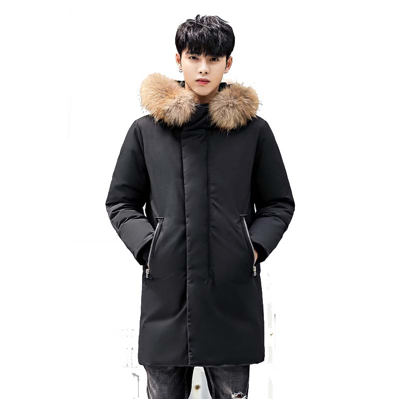 Mens Brand Long Down Jacket 2018 Winter New Hooded Thickening Warm White Duck Down Coat Plus Size 3XL