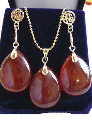 Nobility Woman Red GEM Drop KGP Fortune Dangle Pendant Necklace Earrings Set   Plated
