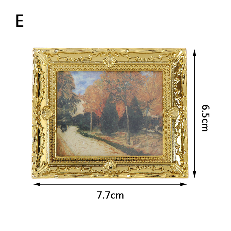 2Pcs Miniature Art Picture Photo Painting Frame For 1:12 Dollhouse Decor