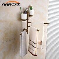 New Antique/Black Towel Rack Toilet Towel Bar Bathroom Rotate Towel Bar Antique Activities Towel 3 Bar And cup holder 9208K