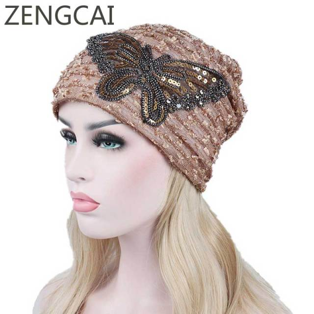 77fd464ec US $4.06 45% OFF|Sequin Turban Hat Women Animal Beanies For Adults Chemo  Hats Skullies Beanies Female Lace Butterfly Knitted Cap Autumn Warm Caps-in  ...