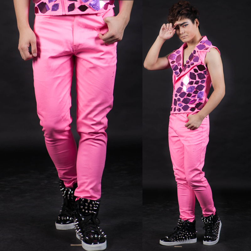 Nightbar  Fashion Male singer pants men's personality ds pink casual trousers