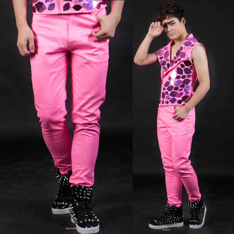Cantante Casual Noche Hombre Pantalones Moda De Con Barra Ds Para Rosado Personalidad Pink UBawqg