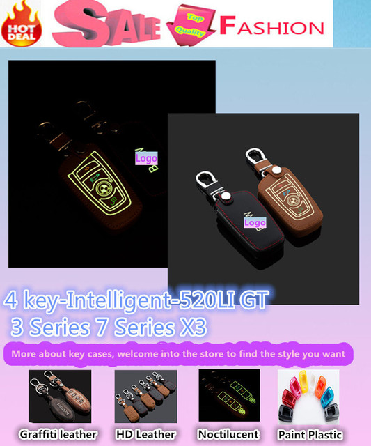 Top Quality styling cover Luminous Leather keys bag cases chain Keychain Wallet intelligent/fold for 520LI GT New 3/7 Series X3