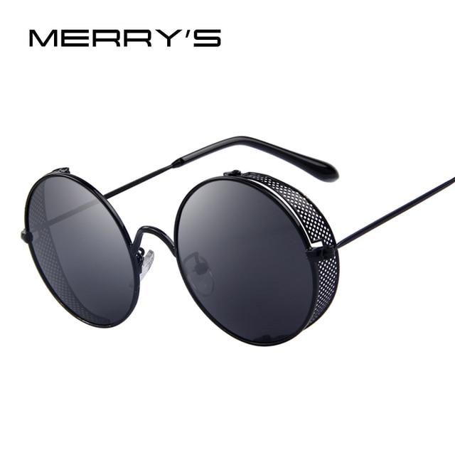 32520e7aca MERRY S Fashion Women Sunglasses Classic Round Steampunk Shades Brand  Designer Men Sun glasses UV400