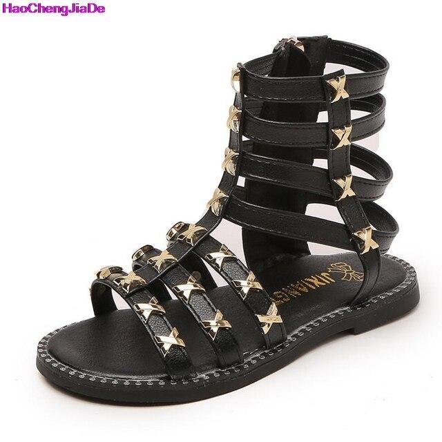 5c8d32ad8cd HaoChengJiaDe Summer Baby Girls Gladiator Roman Sandals Children PU Leather  Kids High Top Sandals Little Girl Fashion Soft Shoes